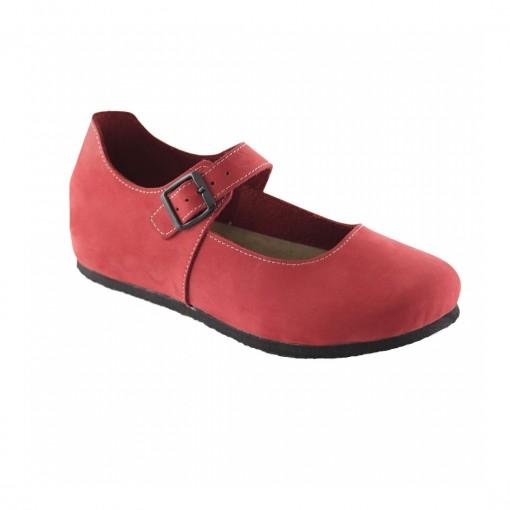 Bantlı Hakiki Deri Kırmızı Slim Babet QK011