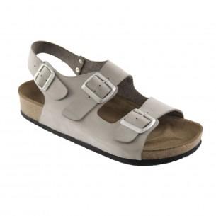 Çift Bantlı  Hakiki Deri Gri Erkek Sandalet QE065