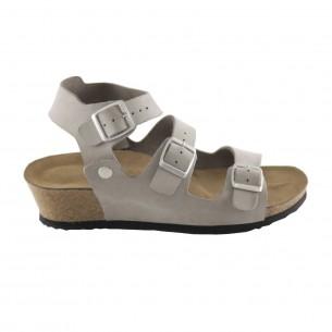 Çift Bantlı Hakiki Deri Gri Platform Sandalet QK065