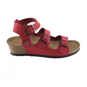 Çift Bantlı Hakiki Deri Kırmızı Platform Sandalet QK061