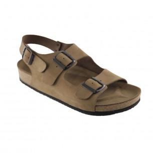 Çift Bantlı  Hakiki Deri Kum Erkek Sandalet QE064