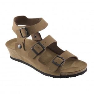 Çift Bantlı Hakiki Deri Kum Platform Sandalet QK064