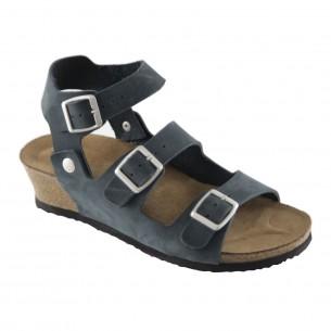 Çift Bantlı Hakiki Deri Lacivert Platform Sandalet QK063