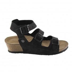 Çift Bantlı Hakiki Deri Siyah Platform Sandalet QK062