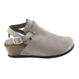 Hakiki Deri Gri Platform Kadın Sandalet QK035