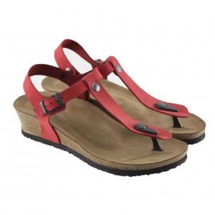 Hakiki Deri Kırmızı Parmak Arası Kadın Sandalet QK051