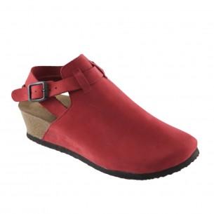Hakiki Deri Kırmızı Platform Kadın Sandalet QK031