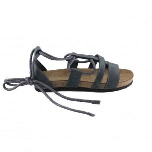 Hakiki Deri Lacivert Bağlı Kadın Sandalet QK373