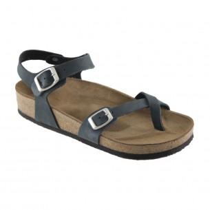 Hakiki Deri Lacivert Parmak Arası Sandalet QK363