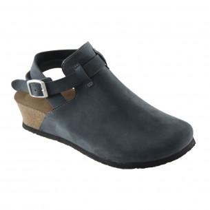 Hakiki Deri Lacivert Platform Kadın Sandalet QK033