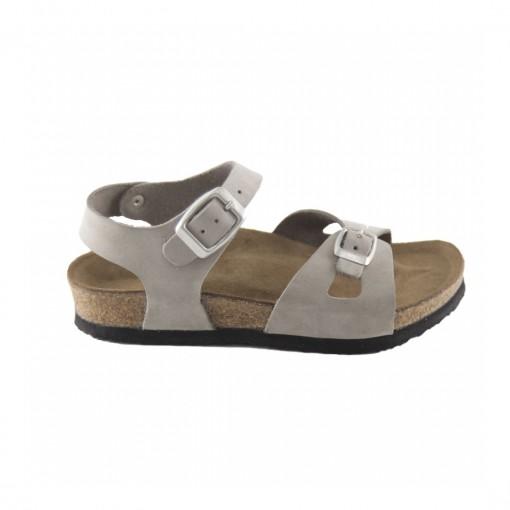 Hakiki Deri Mantar Taban Gri Kız Sandalet QC035