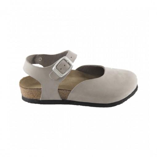 Hakiki Deri Mantar Taban Gri Sandalet QC015