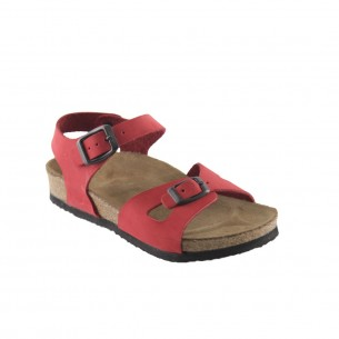 Hakiki Deri Mantar Taban Kırmızı Kız Sandalet QCO31