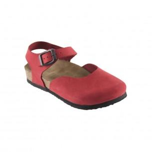 Hakiki Deri Mantar Taban Kırmızı Sandalet QC011