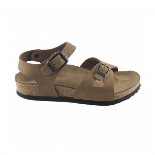 Hakiki Deri Mantar Taban Kum Kız Sandalet QC034