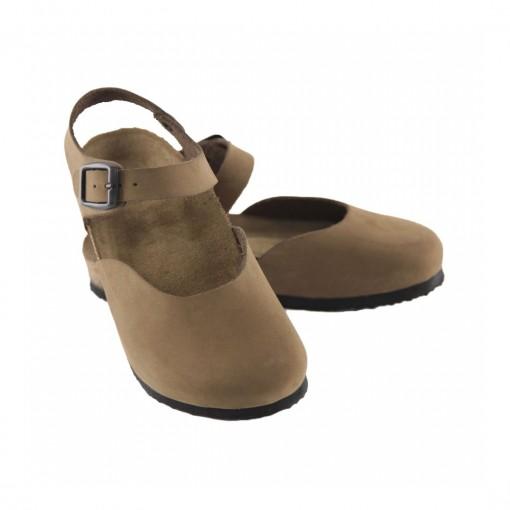 Hakiki Deri Mantar Taban Kum Sandalet QC014