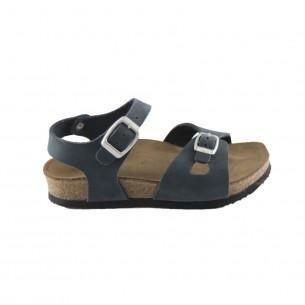 Hakiki Deri Mantar Taban Lacivert Kız Sandalet QC033