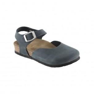 Hakiki Deri Mantar Taban Lacivert Sandalet QC013