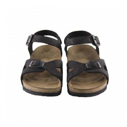 Hakiki Deri Mantar Taban Siyah Kız Sandalet QC032