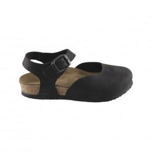 Hakiki Deri Mantar Taban Siyah Sandalet QC012
