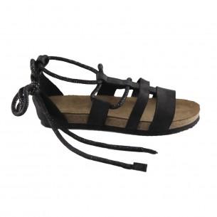 Hakiki Deri Siyah Bağlı Kadın Sandalet QK372