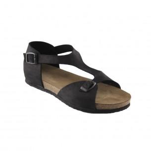 Hakiki Deri Siyah Kadın Sandalet QK382