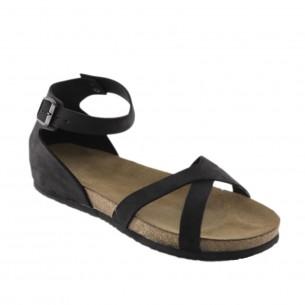 Hakiki Deri Siyah Kadın Sandalet QK402