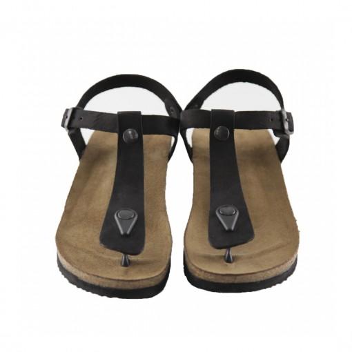 Hakiki Deri Siyah Parmak Arası Kadın Sandalet QK052