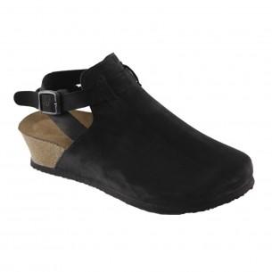 Hakiki Deri Siyah Platform Kadın Sandalet QK032