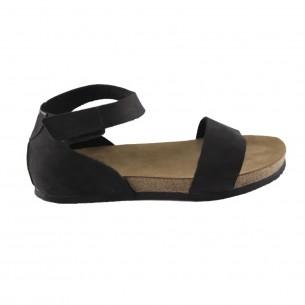 Hakiki Deri Siyah Tek Şeritli Sandalet QK412
